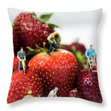 Miniature Construction Workers On Strawberries Throw Pillow