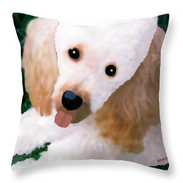 Throw Pillow featuring the photograph Miniature Poodle Albie by Marian Cates