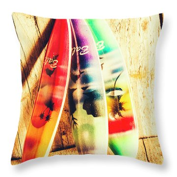 Miniature Surfboard Decorations Throw Pillow
