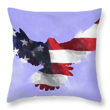 Minimal Abstract Eagle With Flag Watercolor Throw Pillow