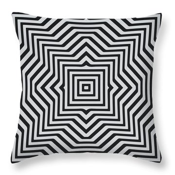Minimal Geometrical Optical Illusion Style Pattern In Black White T-shirt  Throw Pillow
