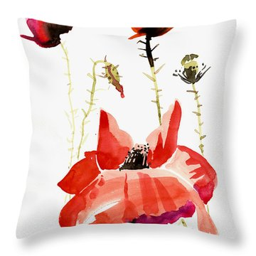 Minimalist Poppy Field Watercolor Throw Pillow