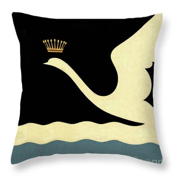 Minimalist Swan Queen Flying Crowned Swan Throw Pillow by Tina Lavoie