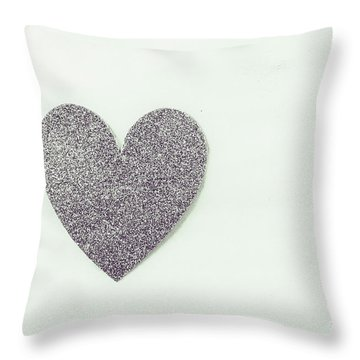 Minimalistic Silver Glitter Heart Throw Pillow