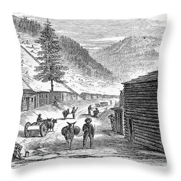 Mining Camp, 1860 Throw Pillow by Granger
