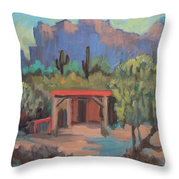 Throw Pillow featuring the painting Mining Camp At Superstition Mountain Museum by Diane McClary