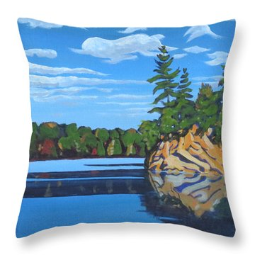 Throw Pillow featuring the painting Mink Lake Gap by David Gilmore