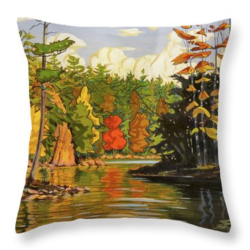 Throw Pillow featuring the painting Mink Lake Narrows by David Gilmore