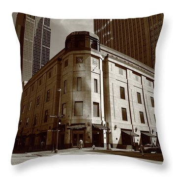 Throw Pillow featuring the photograph Minneapolis Downtown Sepia by Frank Romeo