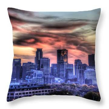 Minneapolis Skyline Autumn Sunset Throw Pillow