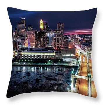 Minneapolis Skyline From The Mississippi River Throw Pillow