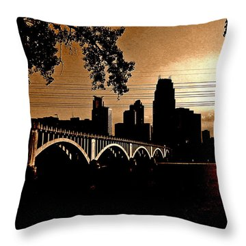 Minneapolis Skyline In Copper Throw Pillow by Tom Reynen