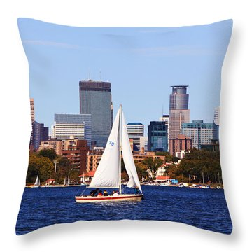 Minneapolis Skyline Lake Calhoun Sailing Throw Pillow