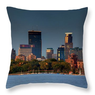 Minneapolis Skyline Photography Lake Calhoun Summer Evening Throw Pillow