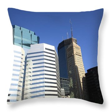 Throw Pillow featuring the photograph Minneapolis Skyscrapers 11 by Frank Romeo