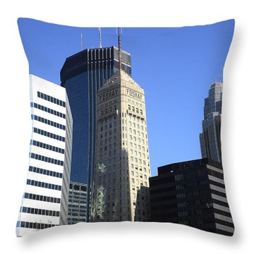 Throw Pillow featuring the photograph Minneapolis Skyscrapers 12 by Frank Romeo