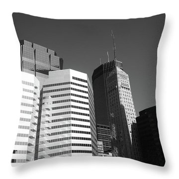 Throw Pillow featuring the photograph Minneapolis Skyscrapers Bw 5 by Frank Romeo