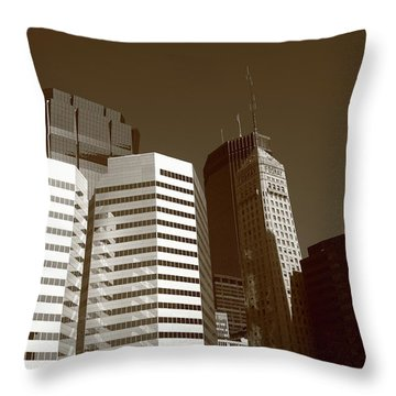 Throw Pillow featuring the photograph Minneapolis Skyscrapers 5 Sepia by Frank Romeo