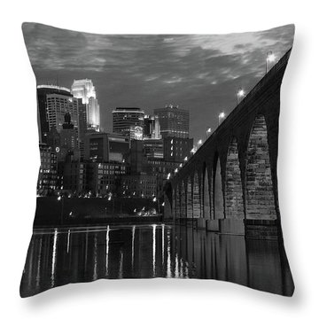 Minneapolis Stone Arch Bridge Bw Throw Pillow
