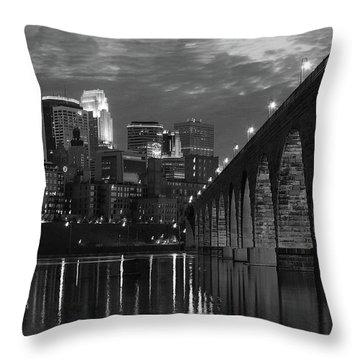 Minneapolis Stone Arch Bridge Bw Throw Pillow