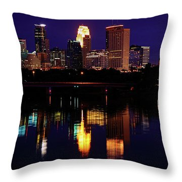 Minneapolis Twilight Throw Pillow by Rick Berk