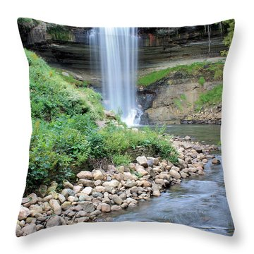 Minnehaha Falls Downstream Throw Pillow by Kristin Elmquist