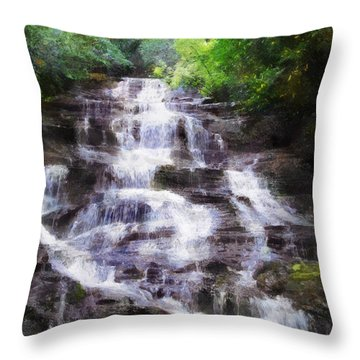 Throw Pillow featuring the digital art Minnehaha Falls Summer by Francesa Miller