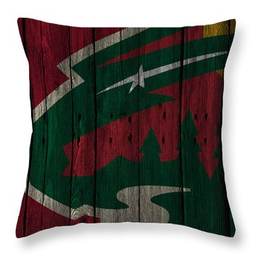 Minnesota Wild Wood Fence Throw Pillow