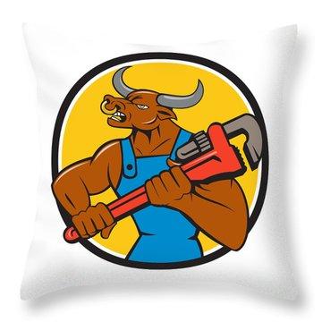 Minotaur Bull Plumber Wrench Circle Cartoon Throw Pillow