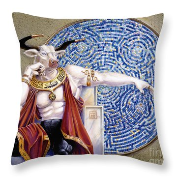 Minotaur With Mosaic Throw Pillow by Melissa A Benson