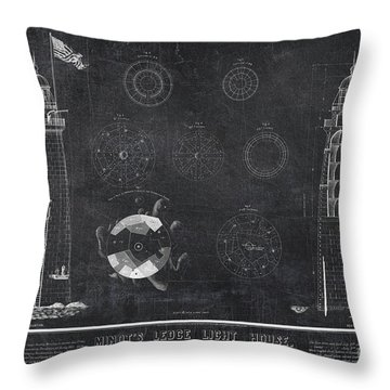 Throw Pillow featuring the drawing Minot's Ledge Light House. Massachusetts Bay Near Cohasset  by Vintage