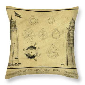 Throw Pillow featuring the drawing Minot's Ledge Light House. Massachusetts Bay by Vintage