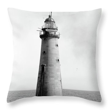 Throw Pillow featuring the photograph Minot's Ledge Lighthouse, Boston, Mass Vintage by Vintage