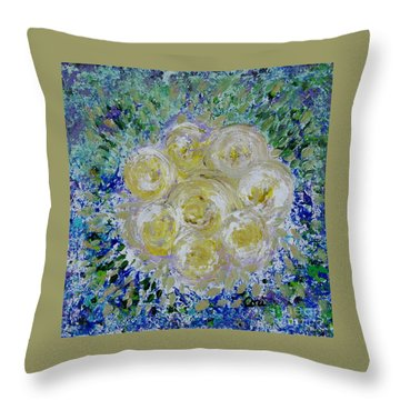 Min's White Bouquet Throw Pillow