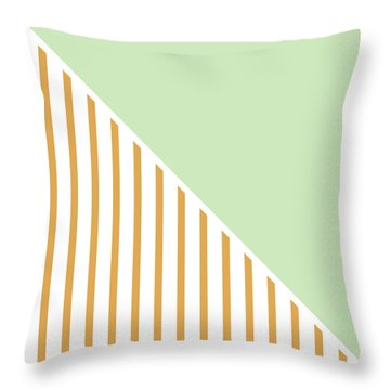 Mint And Gold Geometric Throw Pillow by Linda Woods