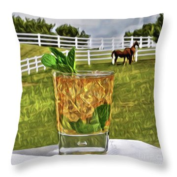 Mint Julep Kentucky Derby Throw Pillow