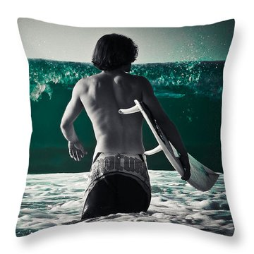 Mint Surf Throw Pillow by Loriental Photography