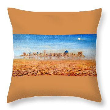 Throw Pillow featuring the painting Mirage City by Arturas Slapsys