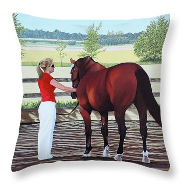 Throw Pillow featuring the painting Mirage Of Wassini by Kenneth  Kirsch