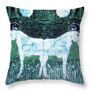 Mirror Image Goats In Moonlight Throw Pillow by Carol Law Conklin