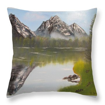 Mirror Mountain Throw Pillow