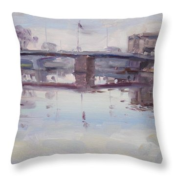 Mirror Reflection Of Gateway Harbor Throw Pillow