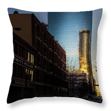 Mirror Reflection Of Peachtree Plaza Throw Pillow
