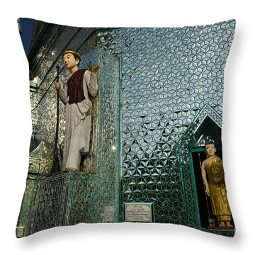 Mirror Temple In Burma Courtyard View Throw Pillow