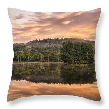 Bass Lake Sunrise - Moses Cone Blue Ridge Parkway Throw Pillow