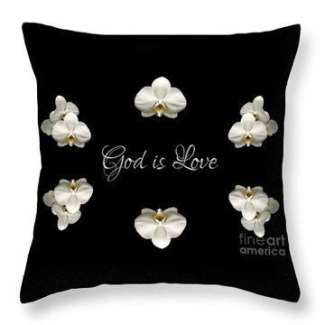 Mirrored Orchids Framing God Is Love Throw Pillow by Rose Santuci-Sofranko