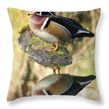 Mirrored Wood Duck Throw Pillow
