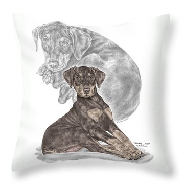 Mischief ... Moi? - Doberman Pinscher Puppy - Color Tinted Throw Pillow by Kelli Swan