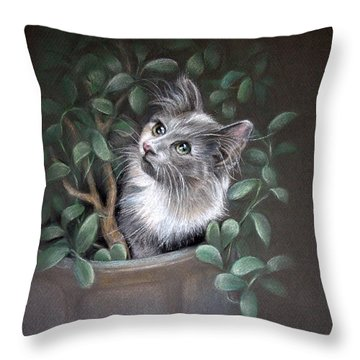 Mischief In The Money Tree Throw Pillow