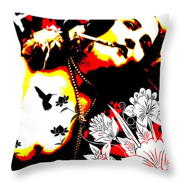 Mischievious Hummingbird Throw Pillow by Chris Andruskiewicz